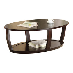 Homelegance - Homelegance Patterson Oval Wood Cocktail Table in Espresso - Convex framing supports the modern look of the Patterson collection. Featured in a warm espresso finish, the occasional collection's rounded features are further complimented with display shelving.