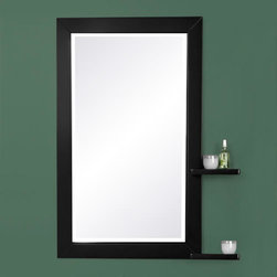 Southcrest Mirror with Shelves - Functionality meets contemporary style in the design of the Southcrest Mirror with Shelves. With two shelves, this bathroom mirror will complement your modern bath or powder room.