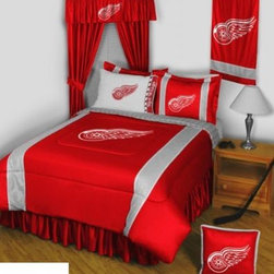 Sports Coverage - Detroit Red Wings NHL Sidelines Complete Bedroom Package - Queen - Save big and show your NHL team spirit with Detroit Red Wings Sidelines Complete Bedroom Package which includes a Comforter, Micro Fiber Sheet set, Shams, Pillows, Bedskirt, Drapes and Valance! Buy the complete Bedroom Package and save off our already discounted prices - the best we could find; when you buy the complete bedroom package instead of each piece separately, you save and save big.   Microfiber 100% polyester Hem Sheet sheet sets have an ultrafine peach weave that is softer and more comfortable than cotton, the entire width of the extra deep 4 1/2 hem of the flat sheet. Bedskirt available in team color with no team logo printed on them.  Includes:  -  Comforter - Twin 66 x 86, Full/Queen 86 x 86,    -  Flat Sheet - Twin 66 x 96, Full 81 x 96, Queen 90 x 102.,    - Fitted Sheet - Twin 39 x 75, Full 54 x 75, Queen 60 X 80,    -  Pillow case Standard - 21 x 30,    - Pillow Sham - 25 x 31,    -  Bedskirt - Twin 76 x 39, Full 76 x 54, Queen 80 x 60 ,    - Window Drapes: 82x 63 ,    - 18 Toss Pillow ,    -  Window Valance : 88 x 14 ,