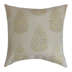 "The Pillow Collection - Faeyza Floral Pillow Lemon Grass 20"" x 20"" - Change up your decor style by decorating this chic throw pillow. Create a garden-inspired look in your living room, bedroom or kitchen with this square pillow. This accent pillow features muted lemon yellow and natural color palette. Mix and match this decor pillow with solids in complementary hues. Crafted from a blend of 55% linen and 45% rayon materials. Hidden zipper closure for easy cover removal.  Knife edge finish on all four sides.  Reversible pillow with the same fabric on the back side.  Spot cleaning suggested."