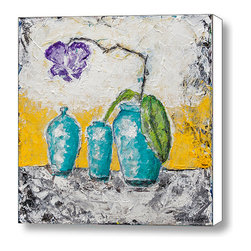 """Turquoise Vases And Purple Orchid Still Life by Ben Gertsberg - Original Art - Turquoise Vases And Purple Orchid Still Life by Ben Gertsberg - original acrylic painting on stretched canvas, size: height - 12"""", width - 12"""", depth - 1.5""""."""