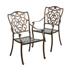 Great Deal Furniture - Valdosa Outdoor Cast Aluminum Dining Chair (Set of 2) - The Valdosa dining chair will bring luxury and convenience to your outdoor space. Made from cast aluminum, these durable high quality chairs feature intricate design on the backrest and a diamond-mesh seat rest. The shiny copper finish is neutral to match any outdoor furniture and will hold up in any weather condition. Whether in your backyard, patio, deck or even your restaurant outdoor dining space, you'll enjoy these chairs for years to come.