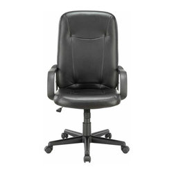 """Modway - Turbo Highback Office Chair in Black - Turn up the volume with the charged and ready Turbo High Back Office Chair. Set to task with this function driven padded chair that matches up """"wheel to wheel"""" with the more expensive alternatives. Turbo also come with lumbar support, pneumatic height adjustment, a black nylon base, dual wheel carpet casters and a full 360 degree swivel."""