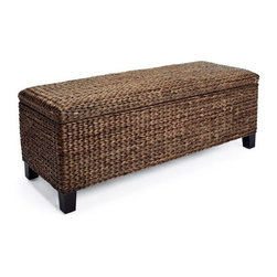 Grandin Road - Solano Storage Bench - Handcrafted from durable seagrass and rattan. Each size is crafted on a hardwood frame. Tapered espresso-finished hardwood legs. Smooth-finished wood interiors. Arrives assembled. With our woven Solano Storage Trunks you can add extra storage at the foot of a bed or in an entryway. The deep-espresso herringbone weave is enriched with golden highlights that create warm, tonal variations for an extra measure of sophistication.. . . . .