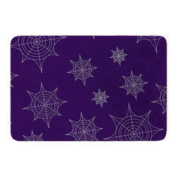 """KESS InHouse - KESS Original """"Mini Webs Purple"""" Memory Foam Bath Mat (24"""" x 36"""") - These super absorbent bath mats will add comfort and style to your bathroom. These memory foam mats will feel like you are in a spa every time you step out of the shower. Available in two sizes, 17"""" x 24"""" and 24"""" x 36"""", with a .5"""" thickness and non skid backing, these will fit every style of bathroom. Add comfort like never before in front of your vanity, sink, bathtub, shower or even laundry room. Machine wash cold, gentle cycle, tumble dry low or lay flat to dry. Printed on single side."""