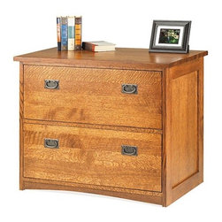 "Anthony Lauren - Two Drawer Lateral File - Having the same height as all of Anthony Laurens home office desks, the Two Drawer Lateral File makes a perfect storage room by itself and also as a paired set. It features two large file drawers for ample storage and provides extra room on the top for books, collectibles, and more! Features: -Constructed of American Northern Red Oak quarter sawn lumber .-Made in the USA .-Two letter/legal size file drawers .-Full-extension ball-bearing slides .-Classic craftsman handles on drawers . -Rich Cherry Oak stain with 7 step hand rubbed finishing . -3mm thick Catalyzed Varnish top coat for long lasting beauty. -Hand rubbed Bees Wax final coating .-10 Year limited warranty .-Overall dimensions: 30"" H x 38"" W x 23"" D."