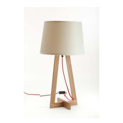 ParrotUncle - Contemporary Table Lamp with Geometric Stands and White Fabric Shade - Whether your eye is first drawn to the interesting design of the base, this lamp is an attention getter. Let it shine next to your couch or bed so you can enjoy it on a daily basis.