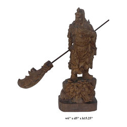 Chinese Hand Carved Agalloch Wood General Guan Statue - Agalloch wood is famous for its distinctive fragrance and it is commonly used in religious items. This general Guan statue is made of agalloch and carved in a round. It is nice display statue and also collectable.