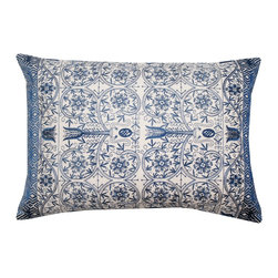 DD - Blue and Linen Pushkar  Throw Pillow - A gorgeous heavily embroidered toss in vibrant colors of blue and linen