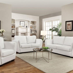 Lois Modern White Sofa Set - $1492.54 - The pieces from thos modern sofa set provide great lumbar support with slanted backs, comfortable higher arm rests, and fiber filled back cushions. Set includes Sofa, Loveseat and Chair.