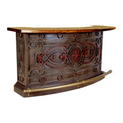 Parisian Bar with Copper Top and Shelf (Large or Medium)