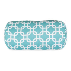 Majestic Home Goods - Teal Links Round Bolster Pillow -