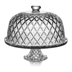 Fifth Avenue Crystal - Fifth Avenue Crystal 'Muirfield' Pedestal Plate with Dome - Raise the anticipation for a taste of your newest baked delight by presenting it to admirers in this cake platter with dome. The platter is made with crystal and is perfect to use for presentations,providing a glimpse of the delicious treat inside.