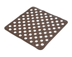 Shower Mat with Holes PVC Chocolate - This shower mat with holes is in PVC and is mildew-resistant. Designed to look and feel comfortable with its holes, it inhibits the growth of stain and odor-causing mold and mildew on the tub mat. This square bath mat features skid-resistant suction cups that should be applied to smooth surfaces only for optimal safety. This beautiful bath rug brings an edgy style to your shower while providing a safe bath surface. Machine wash cold and no dryer. Length 20-Inch and width 20-Inch. Color chocolate. This fashionable shower mat adds a stylish element to your bathroom! Complete your bath decoration with other products of the same collection. Imported.