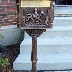 Oakland Living - Decorative Mail Box w Horse & Rider Motif & C - Cast aluminum construction. Antique Bronze finish
