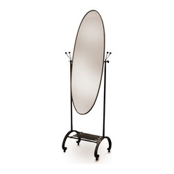 Caporali - Soscia Oval Standing Mirror by Caporali - Hand forged in the Caporali workshop (Santa Mama, Tuscany, Italy), this classically designed oval shaped standing mirror demonstrates the true workmanship of these Tuscan artisans. Rarely can a simple standing mirror serve as both an art piece in your bedroom while also providing full functionality.  Since 1885, the Caporali family has been forging iron in Tuscany using the same mortise and tenon methods passed down through four generations.