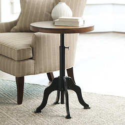 Ballard Designs - Allen Side Table - Solid mango wood top. Matte black base with pecan finish top. This unique adjustable side table captures the clean, utilitarian spirit of early 20th century industrial design. The cast iron base telescopes, so you can set the top at the perfect height beside a chair or bed. Allen Side Table features: . .