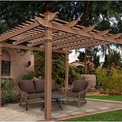 New England Arbors Arcadia Composite Pergola - Keeping with the utopian vision of pastoralism and harmony with nature that it's name implies, the New England Arbors Arcadia Composite Pergola blends beautifully into its natural surroundings and leaves you with a peaceful feeling. Measuring 10 x 10 feet, this pergola is constructed of a revolutionary blend of vinyl and recycled wood pulp. The result is a pergola that looks like wood but has the benefits of maintenance-free vinyl. Even up close, you'll have a hard time believe it's not real wood due to its gorgeous cedar color and natural feel. But the truth is, it's better than wood. To keep it looking great, all you have to do is rinse it with a garden hose to clean it. It will look like new year after year.DimensionsOverall (includes roof): 145.375L x 145.375W x 107.5H in.From outside posts (excludes roof width): 120L x 120W x 107.5H in.Inside posts: 110L x 110 x 92H in.Posts: 5L x 5W in.Weight: 270 lbs.Assembly for the Arcadia Composite Pergola takes two people approximately 4 hours and you'll need a drill, level, ladder, and measuring tape. To install the pergola on a wood deck, you'll need the Bold Down Bracket System (sold separately). For in-ground installation, you can extend the posts with pressure treated lumber wood inserts from your local hardware store. The pergola come with detailed instructions to assist you through the assembly process.About New England ArborsThe world's leading manufacturer of premium vinyl arbor kits, New England Arbors was founded in a simple barn in the late 1990's. There the founders began replicating the beauty of New England design with simple, low-maintenance vinyl materials. The business has grown since then, now supplying arbors and trellises all over America and beyond. With headquarters in Port Huron, Mich., and Sarnia, Ontario in Canada, New England Arbors is dedicated to the creation of the most attractive and durable vinyl arbors possible.