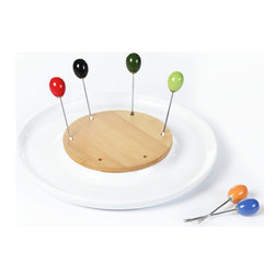 "Concepts Life - Concepts Life Appetizer Dish with Olive Forks  Taste Inception  Round - This appetizer dish instantly adds flare to your table. This porcelain dish with a bamboo center comes with six colorful olive forks to make snacking on appetizers that much more elegant. Can be used to serve olives, cheese, nuts, cherry tomatoes, and more...your imagination is the limit! Contemporary design. Set includes dish with 6 appetizer forks. Dimensions: 10"" diameter"