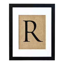 Fiber and Water - Letter R Art - Let your letter of choice, hand-pressed on natural burlap and housed in a distressed wood frame, bring you own special style to any setting. In a nursery or entryway, it will proudly display a first or last initial for a personalized touch.