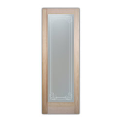 """Bathroom Doors - Glass Bathroom Door Frosted Obscure  PROMENADE - CUSTOMIZE GLASS BATHROOM DOORS!  Quality frosted glass bathroom door designs YOU Customize to suit YOUR decor!  Obscure glass bathroom doors create obscurity thru art!  Ship for just $99 to most states, $159 to some East coast regions, custom packed and fully insured with a 1-4 day transit time.  Available any size, as bathroom door glass insert only or pre-installed in a door frame, with 8 wood types available.  ETA for obscure decorative glass bathroom doors will vary from 3-8 weeks depending on glass & door type.........Block the view, but brighten the look with a beautiful interior glass door featuring a custom frosted glass design by Sans Soucie!   Select from dozens of sandblast etched obscure glass designs!  Sans Soucie creates their bathroom glass door designs thru sandblasting the glass in different ways which create not only different effects, but different levels in price.  Choose from the highest quality and largest selection of frosted decorative glass interior doors available anywhere!   The """"same design, done different"""" - with no limit to design, there's something for every decor, regardless of style.  Inside our fun, easy to use online Glass and Door Designer at sanssoucie.com, you'll get instant pricing on everything as YOU customize your door and the glass, just the way YOU want it, to compliment and coordinate with your decor.  When you're all finished designing, you can place your order right there online!  Glass and doors ship worldwide, custom packed in-house, fully insured via UPS Freight.   Glass is sandblast frosted or etched and bathroom door designs are available in 3 effects:   Solid frost, 2D surface etched or 3D carved. Visit our site to learn more!"""