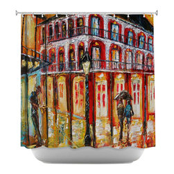 DiaNoche Designs - New Orleans French Quarter Shower Curtain - Sewn reinforced holes for shower curtain rings. Shower curtain rings not included. Dye Sublimation printing adheres the ink to the material for long life and durability. Machine washable. Made in USA.