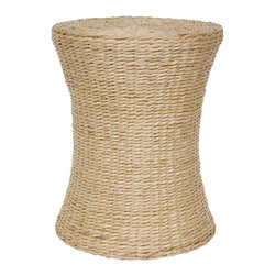 Oriental Furniture - Woven Fiber Stool - Natural - Hour glass shaped natural fiber stool crafted from soft, comfortably textured 'V' woven rush grass. These uniquely shaped shabby chic accents work well as end tables, occasional tables, stools, or planter stands.