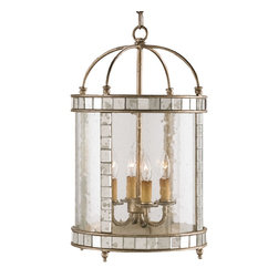 Currey & Company - Currey & Company Corsica Small Lantern CC-9229 - Vintage styling with a pleasing combination of materials make this small four-light lantern unique. Inlaid antiqued mirror enhances an antiqued Silver Leaf framework. Seeded bent glass is the finishing touch that pulls it all together.