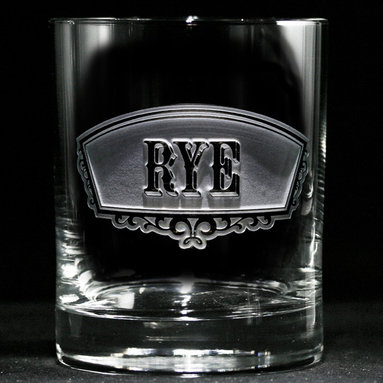 Crystal Imagery, Inc. - Rye Banner Glass, Set of 4 Engraved - These elegant, hand-crafted rye whiskey glasses will bring an air of cultivated taste to your home bar. Their beautifully engraved, classic banner labels have the same vintage style and artisan quality as your favorite special reserve spirits.