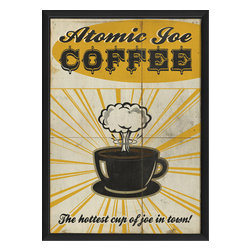 The Artwork Factory - 'Atomic Joe Coffee' Print - Definitely not your average Joe. You need it. You love it. The explosive java jumpstart that a cup of coffee offers. This print creates a perfect fusion of vintage art and state of the art paper technology with a result that can light up the walls a kitchen or lunchroom at work with ease.