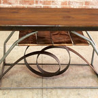 Metal End Table Iron and Copper Base - http://www.ecustomfinishes.com