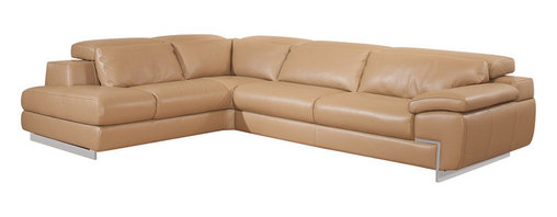 Nicoletti - Nicoletti Oregon II Mouton Italian Leather Sectional Sofa with Left Chaise - This stylish Mouton top grain genuine Italian leather Sectional by Nicoletti features lumbar support cushions and backs with high density foam for extra comfort and support, 1 seat with adjustable depth, adjustable headrest with ratchet mechanism and sleek stainless steel legs.