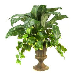 D and W Silks Bird Nest Palm and Pothos Ivy in Urn - About D & W Silks, Inc.D & W Silks imports and manufactures interior silk foliage, trees, floral arrangements, and plants for wholesale customers. Founded by E.M. Deeley, the Louisville, Kentucky-based company is led by sons Chris and Sean. They continue their father's commitment to providing superior customer service and creating the latest styles of high quality, silk foliage for interior designers and the furniture industry.
