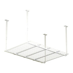 HyLoft - Ceiling Mounted Adjustable Shelf in White - High grade steel hardware. Finished and unfinished ceiling application. Warranty: Lifetime limited. Made from steel. Scratch resistant powder coat. Minimal assembly required. Adjustable Height: 30 - 40 in.. Volume Capacity: Over 62 cubic feet. Weight Capacity: 300 lbs.. 60 in. L x 45 in. W x 41 in. H (46.74 lbs.). Assembly InstructionsTake advantage of your unused ceiling space by turning it into storage space. The HyLoft ceiling storage units are ideal for getting those infrequently used items off the floor and out of the way. Multiple units can be installed side by side. HyLoft ceiling storage units are great for the garage, basement, attic, closet, office or any other room that is in need of more storage. HyLoft ceiling storage units are ideal for storing large, bulky items like holiday decorations, luggage, and coolers. All of the space-saving Hyloft accessories can be used with this item.