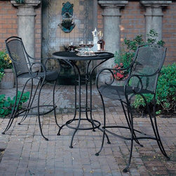 Modesto Wrought Iron Outdoor Stools - The Modesto wrought iron outdoor stool is available in two colors and matching bistro table.