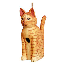 Songbird Essentials - Sitting Orange Tabby Cat Birdhouse - Songbird Essentials adds color & whimsy to any garden with our beautifully detailed wooden birdhouses that come ready to hang under the canopy of your trees. Hand-carved from albesia wood, a renewable resource, each birdhouse is hand painted with non-toxi