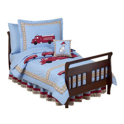 Sweet Jojo Designs - Fire Truck Toddler Bedding Set - The Fire Truck 5 piece Toddler Bedding set will help you create an incredible room for your child. This designer boy bedding set combines solids and plaid in a swirling quilted pattern and is adorned with appliques and embroideries of fire trucks, Dalmatians, and fire hydrants. This collection uses the stylish colors of chambray blue, brick red, and beige. The design uses 100% cotton fabrics that are machine washable for easy care. This wonderful set will fit all crib and toddler beds. Your 5 Piece Toddler Bedding Set includes a comforter, fitted sheet, flat sheet, pillow sham, and pillow case.