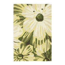 """Nourison - Nourison Fantasy FA19 1'9"""" x 2'9"""" Herb Area Rug 10978 - Add an instant shot of chic to any room with stunning over-sized poppies in an ultra-pretty palette of green, cream, black and white. Created with superior attention to detail out of high-density, hand-hooked yarns and hand-carved for additional texture and dimension, this transitional rug delights the senses."""