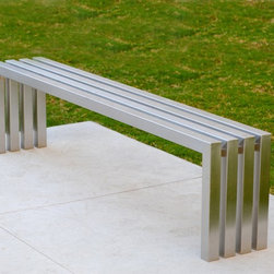 Linear Stainless Steel Bench | Sarabi Studio Austin, TX - This modern stainless steel bench is great for use year round indoors and out. Hand crafted from over 30 feet of 304 stainless steel tubing that is precisely cut welded and hand grained, the linear bench is a substantial piece of furniture designed to last a lifetime. We offer custom sizes of this bench with short lead times, if you would like to get a same day price quote please email or call us at 512.425.0675 any time, we would love to hear from you!