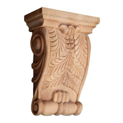 "Inviting Home - Michigan Medium Wood Corbel - Cherry - wood corbel in cherry 6-3/8""H x 2-3/8""D x 4-5/8""W Corbels and wood brackets are hand carved by skilled craftsman in deep relief. They are made from premium selected North American hardwoods such as alder beech cherry hard maple red oak and white oak. Corbels and wood brackets are also available in multiple sizes to fit your needs. All are triple sanded and ready to accept stain or paint and come with metal inserts installed on the back for easy installation. Corbels and wood brackets are perfect for additional support to countertops shelves and fireplace mantels as well as trim work and furniture applications."