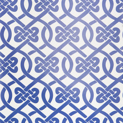 Kimberly Lewis Home - Knotted Wallpaper Sheet, Navy - Get ready to tie the knot. You'll love this classic and stylish pattern covering books on your shelf or behind the books on your shelf.