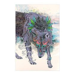 """Kess InHouse - Mat Miller """"Journeying Spirit"""" Wolf Metal Luxe Panel (16"""" x 20"""") - Our luxe KESS InHouse art panels are the perfect addition to your super fab living room, dining room, bedroom or bathroom. Heck, we have customers that have them in their sunrooms. These items are the art equivalent to flat screens. They offer a bright splash of color in a sleek and elegant way. They are available in square and rectangle sizes. Comes with a shadow mount for an even sleeker finish. By infusing the dyes of the artwork directly onto specially coated metal panels, the artwork is extremely durable and will showcase the exceptional detail. Use them together to make large art installations or showcase them individually. Our KESS InHouse Art Panels will jump off your walls. We can't wait to see what our interior design savvy clients will come up with next."""