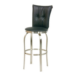 Trica - Trica Tuscany I Swivel Bar Stool - Brushed Steel, 34 Inches (Spectator Height) - Trica Tuscany I Swivel Bar Stool - Brushed Steel - Trica bar stools offer a versatile and modern seating option for residential and commercial use. The stools are available in several styles, including backless, arm rest and silhouette designs, and come in a variety of metal finishes. Seat fabrics are available in over 100 colors and patterns, so you're sure to find the perfect match for your decor. The bar stools feature a heavy-gauge steel frame with durable welding joints for years of enjoyment. Trica bar stools are available in counter, bar and spectator seat heights to accommodate a variety of seating situations in the kitchen, dining room, bar or cafe.
