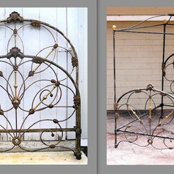Sydney Australia - One of the more unique designed antique iron beds from the Victorian. We converted it to a canopy for our clients master bedroom in Sydney Australia.