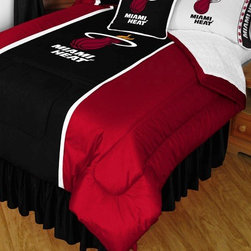 Sports Coverage - NBA Miami Heat Sidelines Comforter and Sheet Set Combo - Queen - This is a great NBA Miami Heat Bedding Comforter and Sheet set combination! Buy this Microfiber Sheet set with the Comforter and save off our already discounted prices. Show your team spirit with this great looking officially licensed Comforter which comes in new design with sidelines. This comforter is made from 100% Polyester Jersey Mesh - just like what the players wear. The fill is 100% Polyester batting for warmth and comfort. Authentic team colors and logo screen printed in the center.   Microfiber Sheet Hem sheet sets have an ultrafine peach weave that is softer and more comfortable than cotton.  Its brushed silk-like embrace provides good insulation and warmth, yet is breathable.  The 100% polyester microfiber is wrinkle-resistant, washes beautifully, and dries quickly with never any shrinkage. The pillowcase has a white on white print beneath the officially licensed team name and logo printed in vibrant team colors, complimenting the NEW printed hems. The Teams are scoring high points with team-color logos printed on both sides of the entire width of the extra deep 4 1/2 hem of the flat sheet.  Includes:  -  Flat Sheet - Twin 66 x 96, Full 81 x 96, Queen 90 x 102.,    - Fitted Sheet - Twin 39 x 75, Full 54 x 75, Queen 60 X 80,    -  Pillow case Standard - 21 x 30,    - Comforter - Twin 66 x 86, Full/Queen 86 x 86,