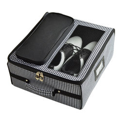 Picnic at Ascot - Golf Trunk Organizer, Houndstooth - Golf trunk organizer provides storage for shoes, balls, spikes, gloves, tees, and towel. Acts like a golf locker in the car. Ventilation area over the shoe compartment. Folds flat for shipping and storage. Designed and assembled in the USA. Lifetime warranty.