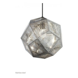 """Tom Dixon - Tom Dixon Etch Pendant Light - The Etch Pendant Light is designed by Tom Dixon and made by Tom Dixon. Inspired by the logic of pure mathematics, geodesic structures are made up of sections of 0.4mm etched metal sheets. This pendant light has a detailed pattern which casts a mass of intricate shadows when lit. Could be hung in multiples using our Pendant System, or as a single pendant, above a dining table for example. Also available in brass, stainless steel and as a candle holder.Etch is a digitally manufactured pendant inspired by the logic of pure mathematics. Made by employing an industrial process used to produce electronic products, such as circuit boards. The detailed designs are first photo-etched on to metal sheets. Then all unexposed areas are dissolved with acid, creating intricate patterns cut into the metal. The Etch Shade Pendant allows light to gently filter through and cast intricate shadows.      Product Details:  The Etch Pendant Light is designed by Tom Dixon and made by Tom Dixon. Inspired by the logic of pure mathematics, geodesic structures are made up of sections of 0.4mm etched metal sheets. This pendant light has a detailed pattern which casts a mass of intricate shadows when lit. Could be hung in multiples using our Pendant System, or as a single pendant, above a dining table for example. Also available in brass, stainless steel and as a candle holder.Etch is a digitally manufactured pendant inspired by the logic of pure mathematics. Made by employing an industrial process used to produce electronic products, such as circuit boards. The detailed designs are first photo-etched on to metal sheets. Then all unexposed areas are dissolved with acid, creating intricate patterns cut into the metal. The Etch Shade Pendant allows light to gently filter through and cast intricate shadows.  Details:     Manufacturer: Tom Dixon   Designer: Tom Dixon   Made in: United Kingdom   Dimensions: Diameter: 12.6"""" (32 cm) X Height: 10.8"""" (27.5 cm)   """