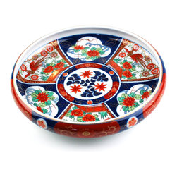 Arita Jonishiki Sanpowari Botan Houou Large Bowl - Gorgeous and brilliant large bowl from Arita brand. Fine details on the bowl is stunning.  This truly beautiful Arita-yaki porcelain is strong, dignified, and elegant.
