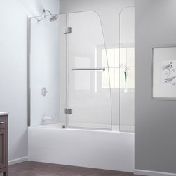 """Dreamline - Aqua 56 to 60""""W x 58""""H Hinged Tub Door w/ Extender - The AQUA Tub Door with Extender Panel combines a fresh look with a frameless design for an amazing value. The AQUA shines with a striking curved silhouette that is far from ordinary. The innovative wall profile allows out-of-plumb adjustment during installation. The Extender Panel provides additional splash coverage. Turn the style in your bathroom space up a notch with the AQUA Tub Door with Extender Panel."""