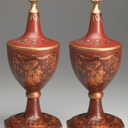 AA Importing - Asian Urn Pair in Brick Red Finish - Flank a favored collectible, highlight your console table and more - this pair of Asian-inspired urns give you endless design options. Each urn has a tapered handle and removable lid. Brick-red finished urns have black interiors and gold and bronze-tone trim. Removable lid. With Gold and Bronze painted crackle-like finish. Inside is painted Black. Resin. Oriental design. 5.5 in. Dia. x 15 in. H